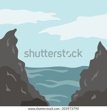 vector illustration of the rocks and the sea