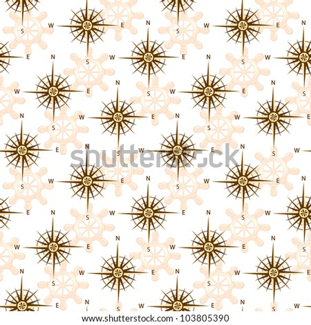 vector illustration of the seamless compass rose isolated on white background. - stock vector