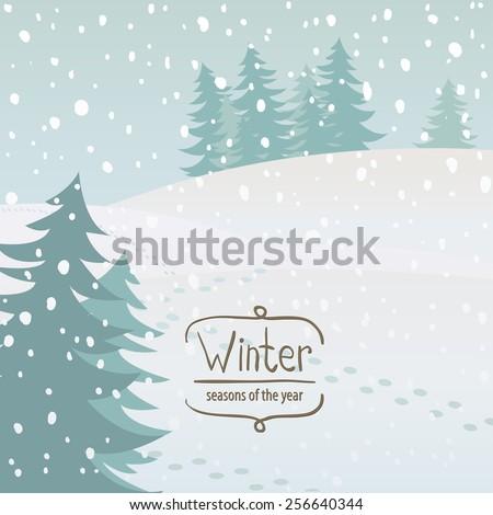 Vector illustration of the seasons, winter, snow - stock vector