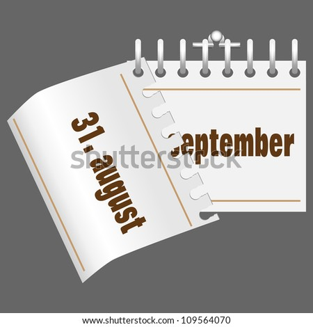 Vector illustration of the 1. september calendar. Time back to school - stock vector
