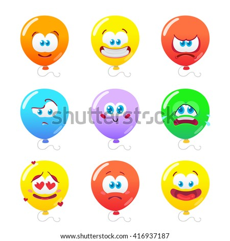 Vector illustration of the set of balloons emoticons isolated on white background
