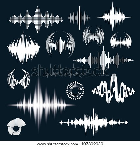Vector illustration of the signal wave graphic sound. Design for logo. audio equalizer technology. Sound waves set art - stock vector
