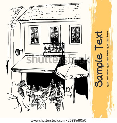 Vector illustration of the small cafe on the street of old european town drawn in sketch style on a light yellow background. Lisbon, Portugal. - stock vector