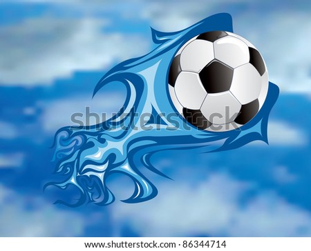 vector illustration of the soccer fireball in sky - stock vector