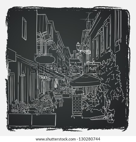 Vector illustration of the street drawn in sketch style on chalkboard background. Quiet street with a street cafes in a Mediterranean town. Lisbon street. Portugal. - stock vector