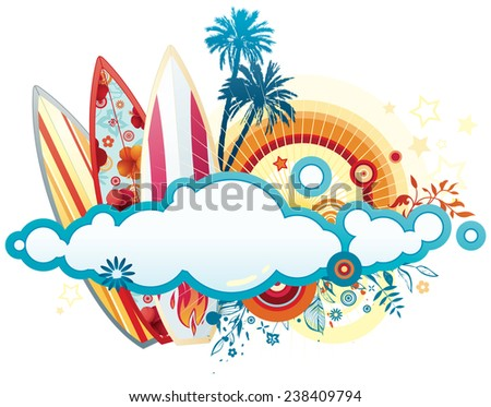 Vector illustration of the summer design with surf boards & copy space.  - stock vector