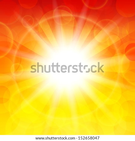 Vector illustration of the sun on a bright background