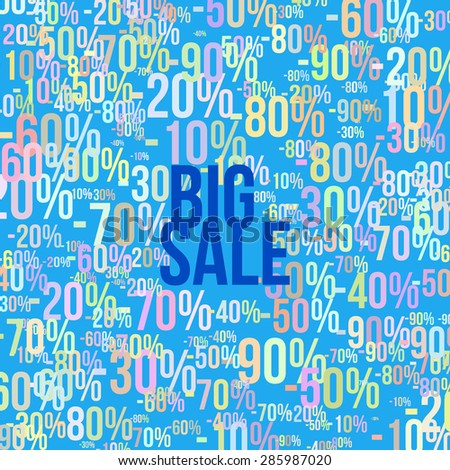 "Vector illustration of the text ""Big sale"" with cloud of colorful digits on the background for your design"