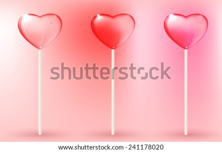 Vector illustration of the transparent lollypops on the pink background - stock vector