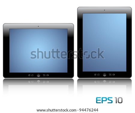 vector illustration of the turned on computer tablets with reflection isolated on a white background, eps 10 - stock vector
