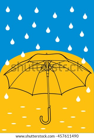 Vector illustration of the umbrella with additional elements and simple background. Art for web and print design appealing for abstract and climate, weather, rain  theme.