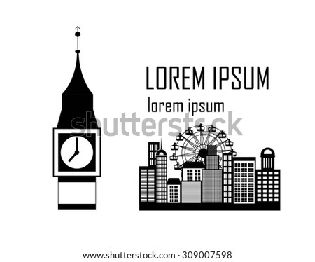Vector illustration of the various landmarks of London - stock vector
