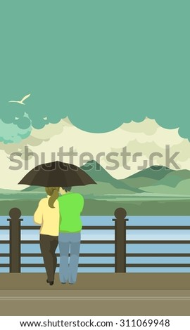 vector illustration of the vertical pier is loving couple under an umbrella - stock vector