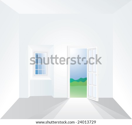 vector illustration of the white room - stock vector