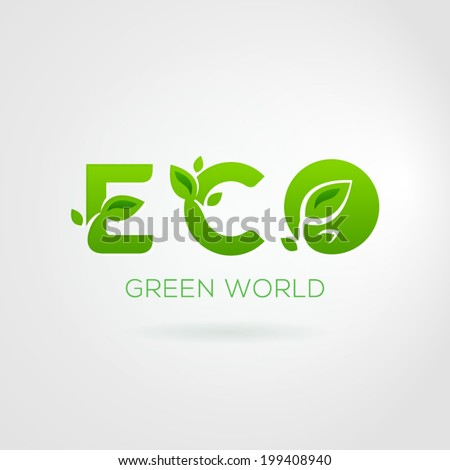 Vector Illustration of the word ECO with the leaves.  - stock vector