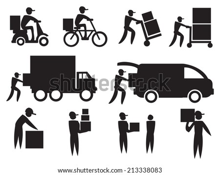 Vector illustration of the work of a delivery man. Black on white icon set.