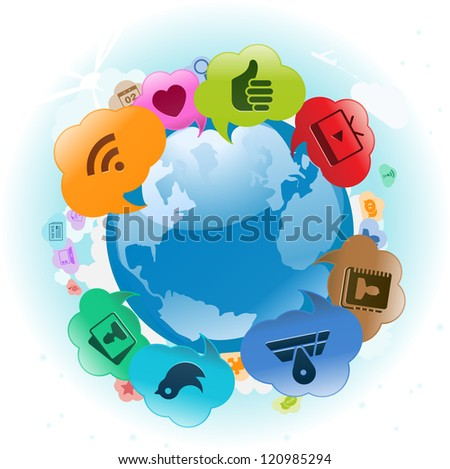 Vector Illustration of the world with cloud thought bubbles around it. no transparencies - stock vector