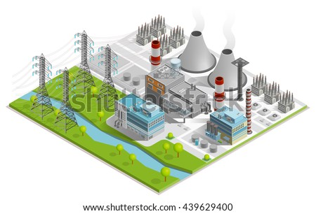 Vector illustration of thermal power station  for production of electrical energy with chimneys industrial buildings and power line supports isometric concept