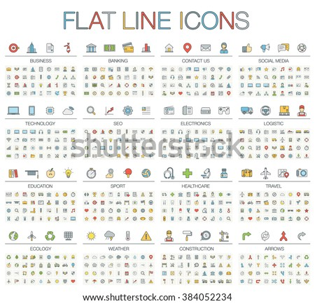 Vector illustration of thin line color icons: business, banking, contact, social media, technology, logistic, education, sport, medicine, travel, weather, construction, arrow. Linear flat symbols set. - stock vector