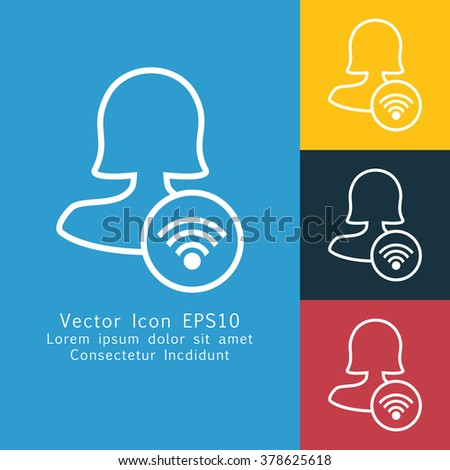 Vector illustration of thin line female user connection icon . Could be used as menu button, user interface element template, badge, sign, symbol, company logo