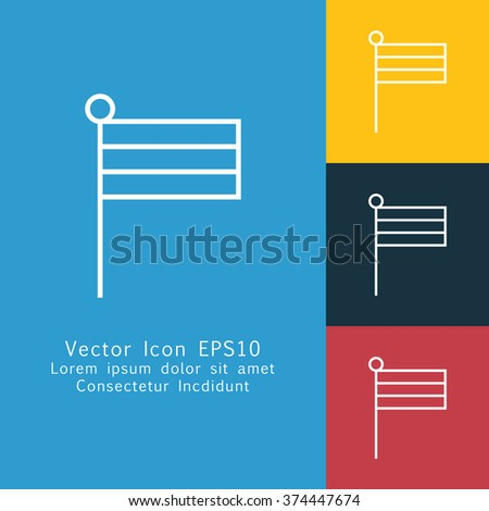 Vector illustration of thin line flag icon . Can be used as company logo, badge, web interface and mobile application button, pictogram
