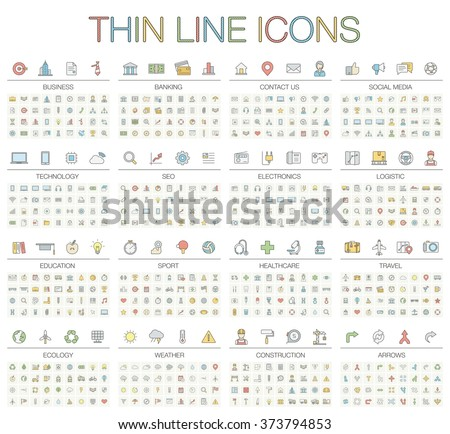 Vector illustration of thin line icons for business, banking, contact, social media, technology, seo, logistic, education, sport, medicine, travel, weather, construction, arrow. Color symbols set.