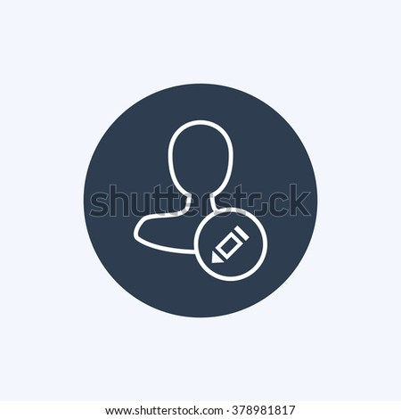 Vector illustration of thin line male user write action icon. Could be used as menu button, user interface element template, badge, sign, symbol, company logo