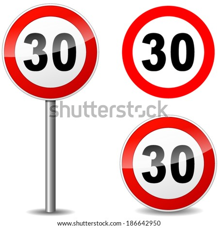 Vector illustration of thirty regulation sign on white background - stock vector
