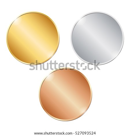 vector illustration of three blank coins on white background