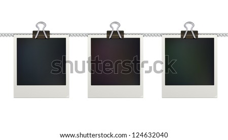 Vector illustration of three blank retro polaroid photo frames over white background - stock vector