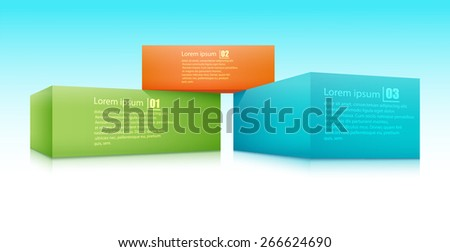 Vector illustration of three bricks applied with the text. - stock vector