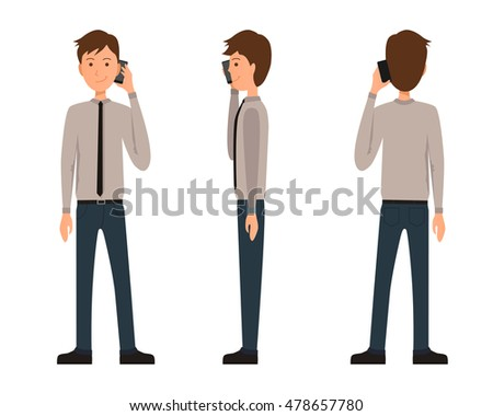 Vector illustration three business men official stock vector vector illustration of three business men in official clothes with phone in one hand flat ccuart Choice Image