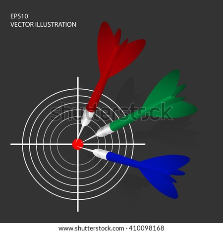 Vector illustration of three color darts with  target