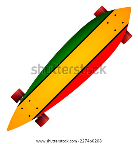 Vector illustration of three color longboard. Leaf form wooden longboard with red, yellow and green stripes and red wheels. Single isolated vector illustration on white background. - stock vector