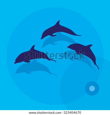Vector illustration of three dolphins over sea.