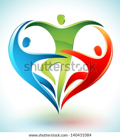 Vector illustration of three figures dancing and forming a heart - stock vector