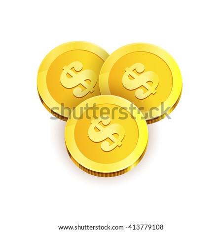 Vector Illustration of three golden coins. Isolated on white. Vector Illustration. - stock vector