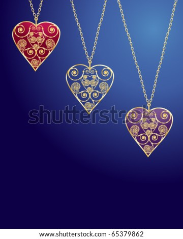 vector illustration of three intricate heart shaped lockets on gold chains in eps10 format - stock vector