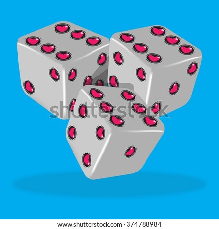 Vector illustration of three lucky gray dice with heart - blue background. - stock vector
