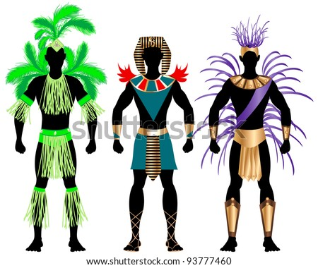 Vector Illustration of three male Costumes for Festival, Mardi Gras, Carnival, Halloween or more. - stock vector