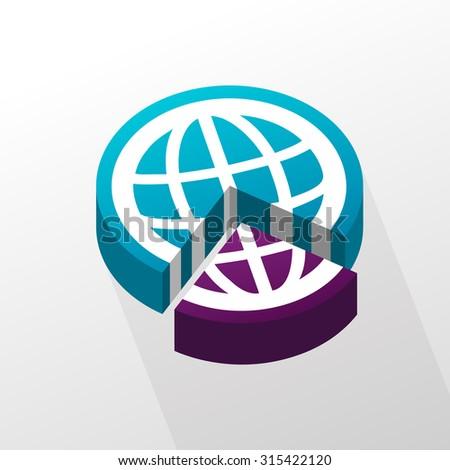 Vector illustration of three quarter and a quarter globe pie. - stock vector