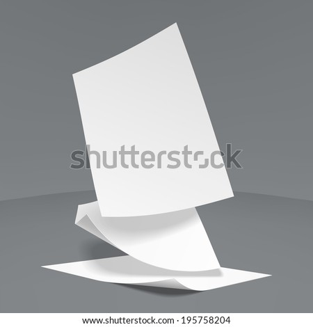 Vector Illustration of  three realistic paper sheets falling down, soft shadows. - stock vector