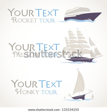 Vector illustration of three simple ships with editable text - stock vector