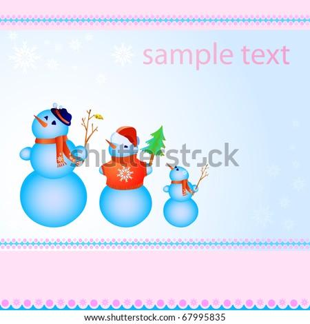 Vector illustration of three snowmen in line - stock vector