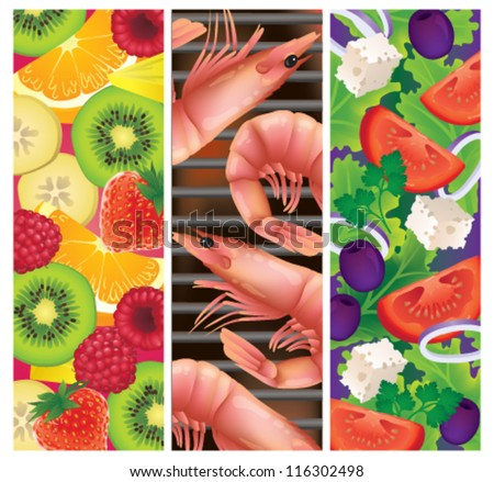 Vector illustration of three summer foods: fresh fruit salad, greek salad and a seafood barbecue - stock vector