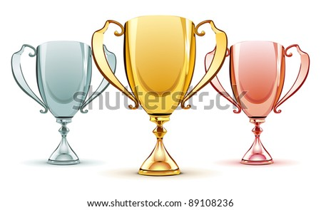 Vector illustration of three trophies - gold, silver and bronze - stock vector