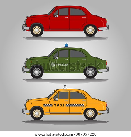 Vector illustration of three variations of classic European old-timer automobiles including red saloon (sedan) car, police (italian polizia) car and taxi car