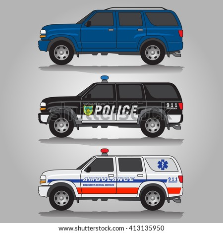 Vector illustration of three variations of terrain vehicles - blue 5-door SUV, black police SUV and white ambulance SUV vehicle
