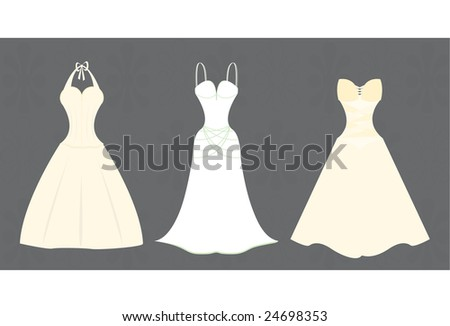 Vector illustration of three wedding gowns in varied styles.