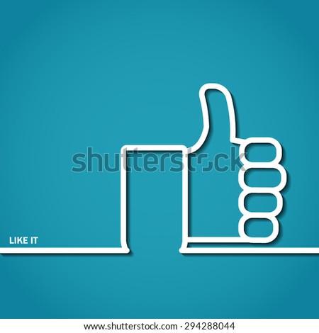 Vector Illustration of Thumb Up Outline for Design, Website, Background, Banner. Logo of Success symbol silhouette Element  social media Template - stock vector